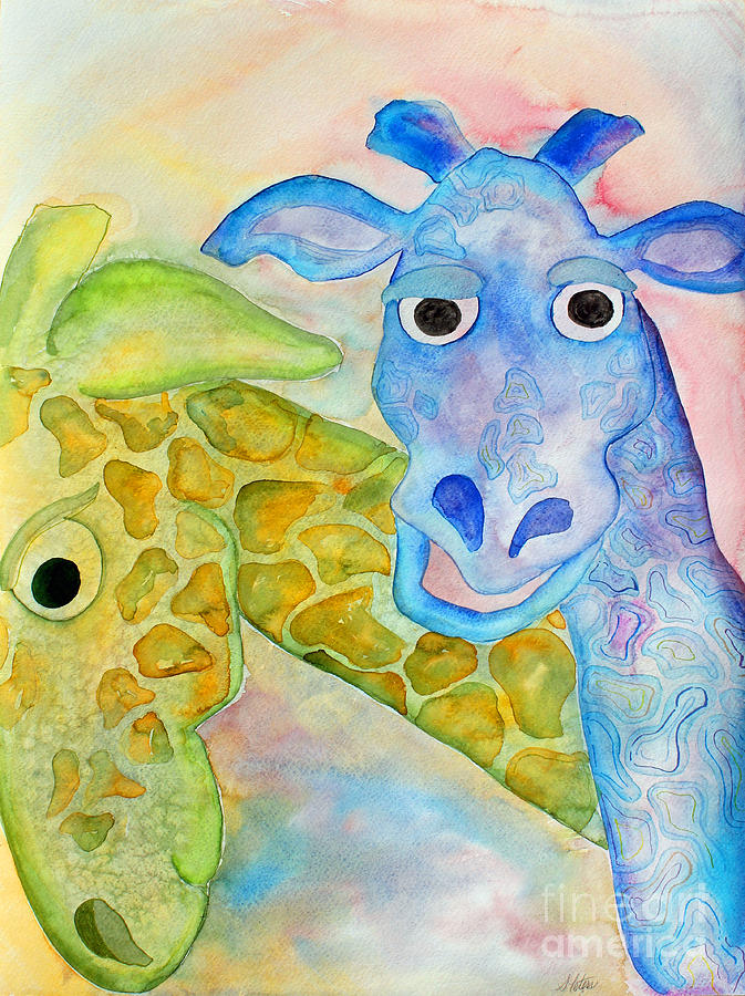 Watercolor Painting - Two Giraffes by Shannan Peters