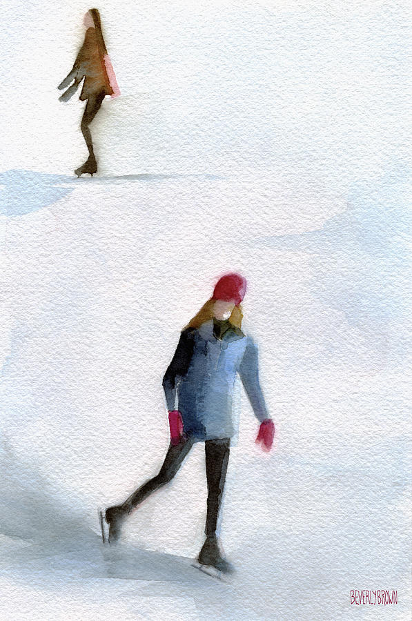 Two Girls Ice Skating Watercolor Painting Painting  - Two Girls Ice Skating Watercolor Painting Fine Art Print