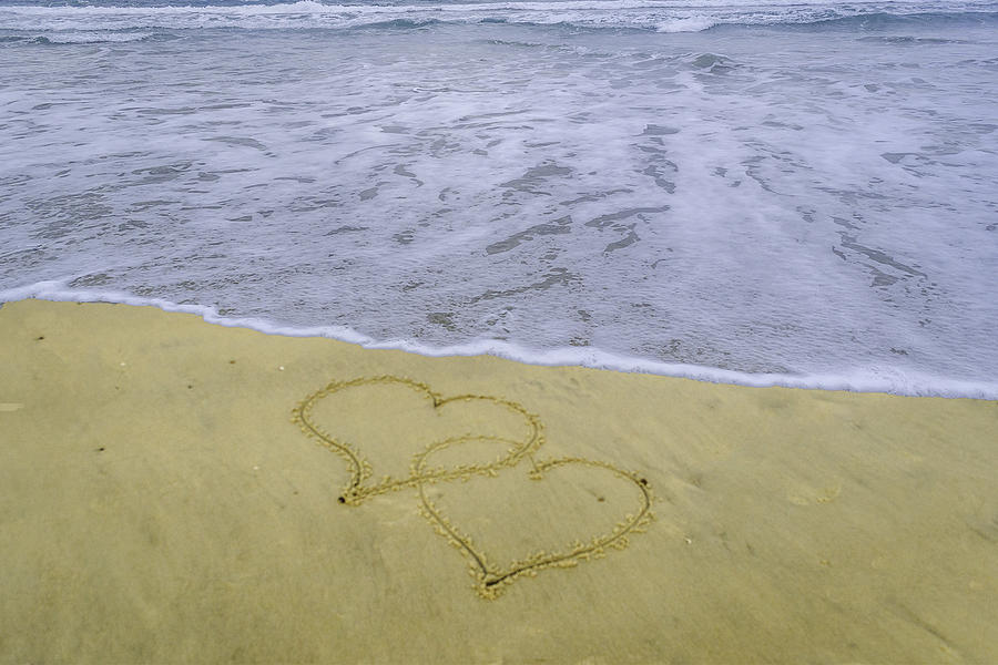 Two Hearts In The Sand Photograph by Arte Turquesa