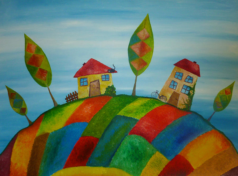 Two Houses Painting  - Two Houses Fine Art Print