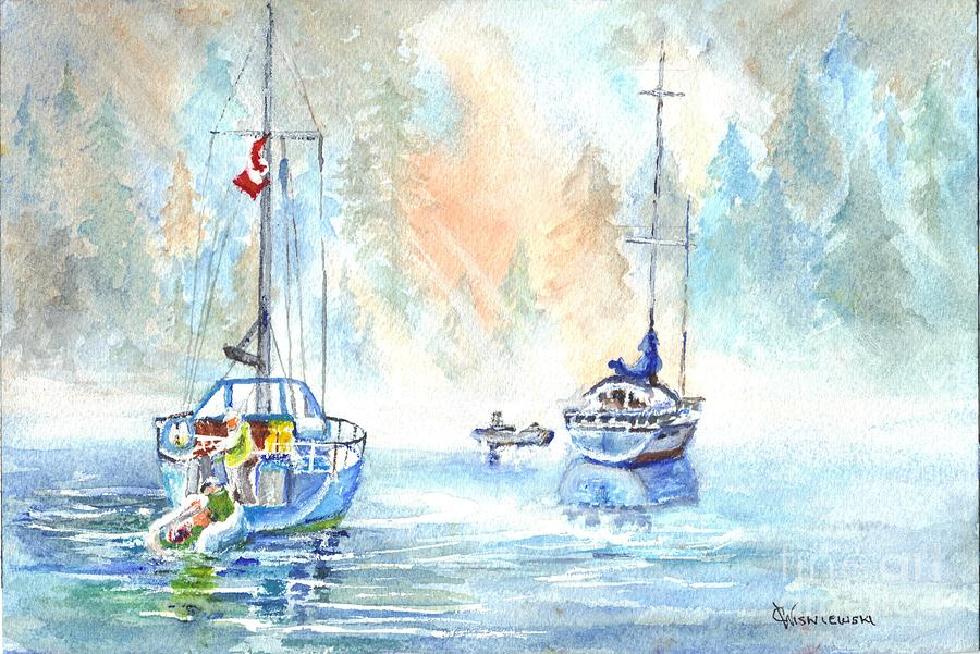 Fog Painting - Two In The Early Morning Mist by Carol Wisniewski