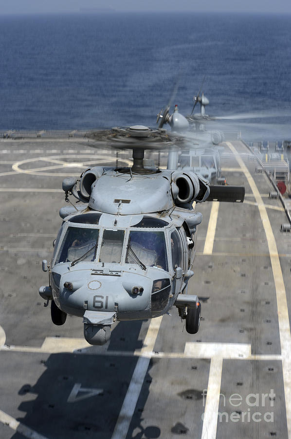 Two Mh-60s Sea Hawk Helicopters Take Photograph