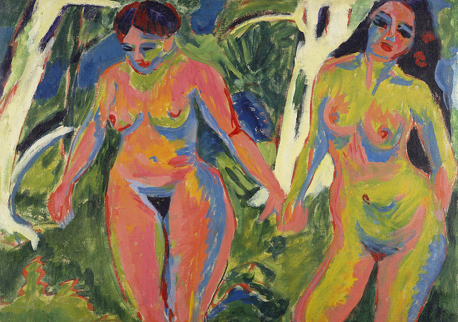 Two Nude Women In A Wood Painting