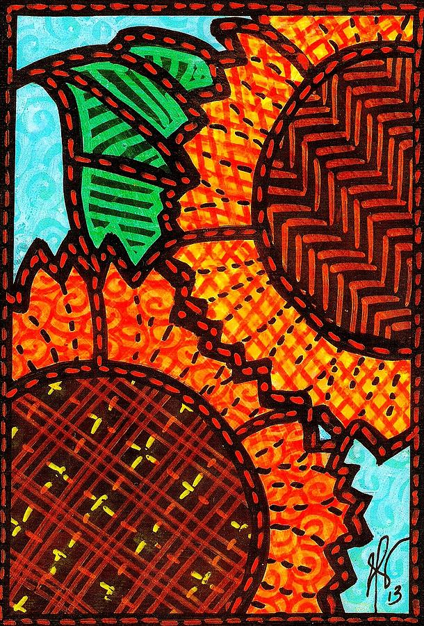 Two Quilted Sunflowers Painting