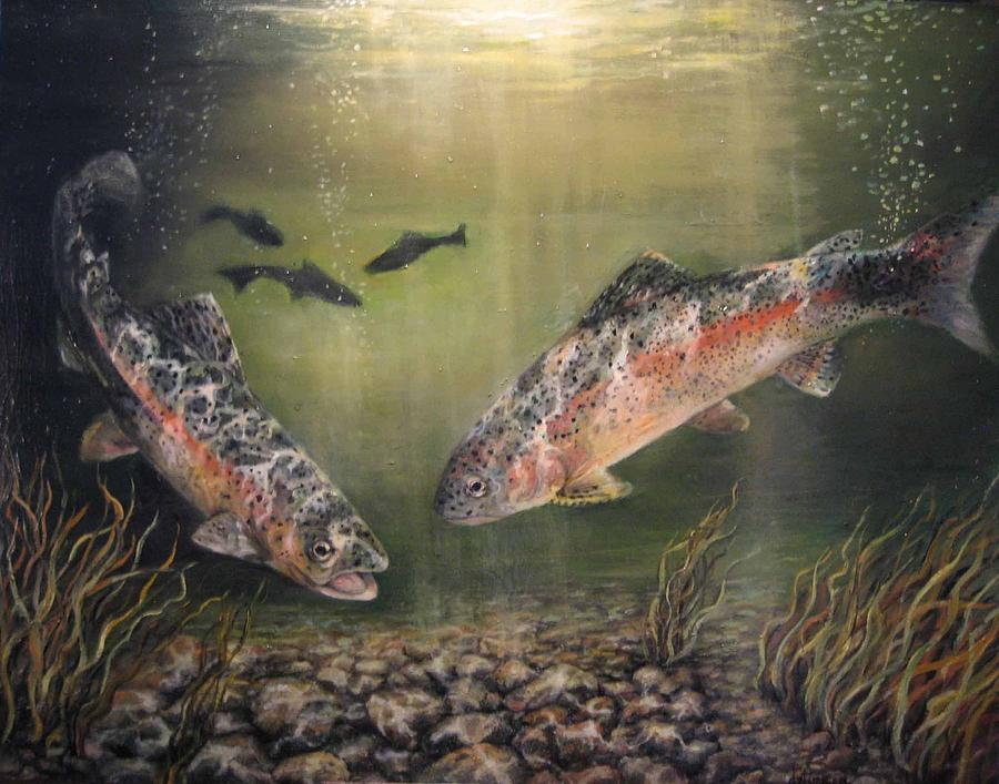 Two Rainbow Trout Painting  - Two Rainbow Trout Fine Art Print