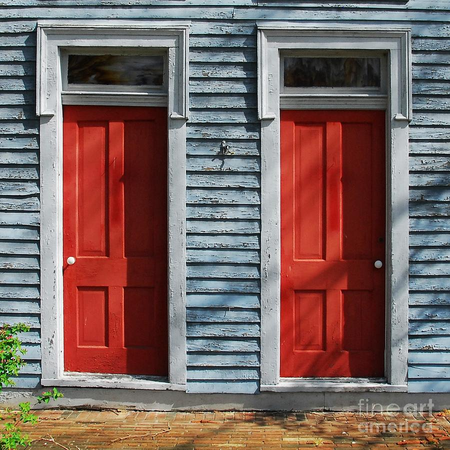 Two Red Doors Photograph  - Two Red Doors Fine Art Print