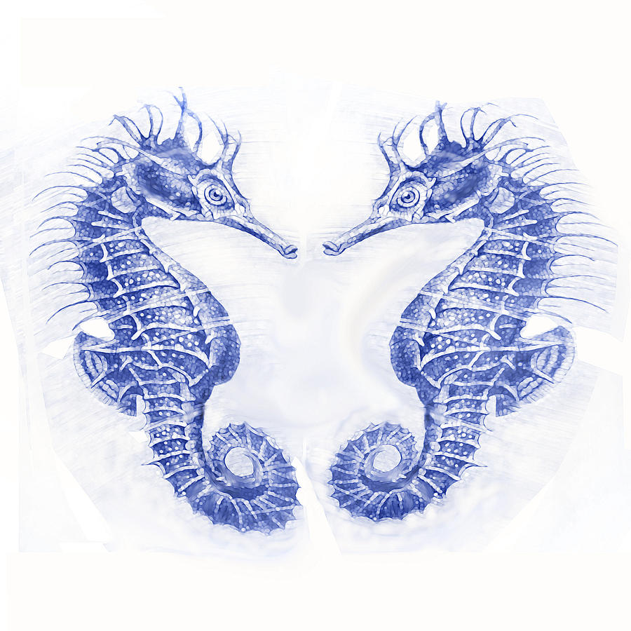 Two Seahorses- Blue Digital Art  - Two Seahorses- Blue Fine Art Print