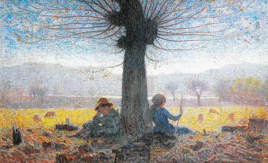 Two Shepherds On The Fields Of Mongini Painting  - Two Shepherds On The Fields Of Mongini Fine Art Print