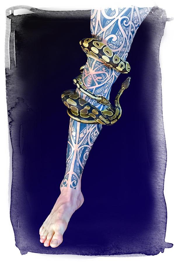 Rattlesnake Wrapped Around Leg Tattoo: Two Snakes Wrapped Around A Heavily Tattooed Leg Digital