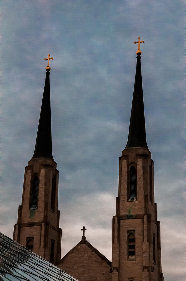 Two Steeples Three Crosses Photograph  - Two Steeples Three Crosses Fine Art Print