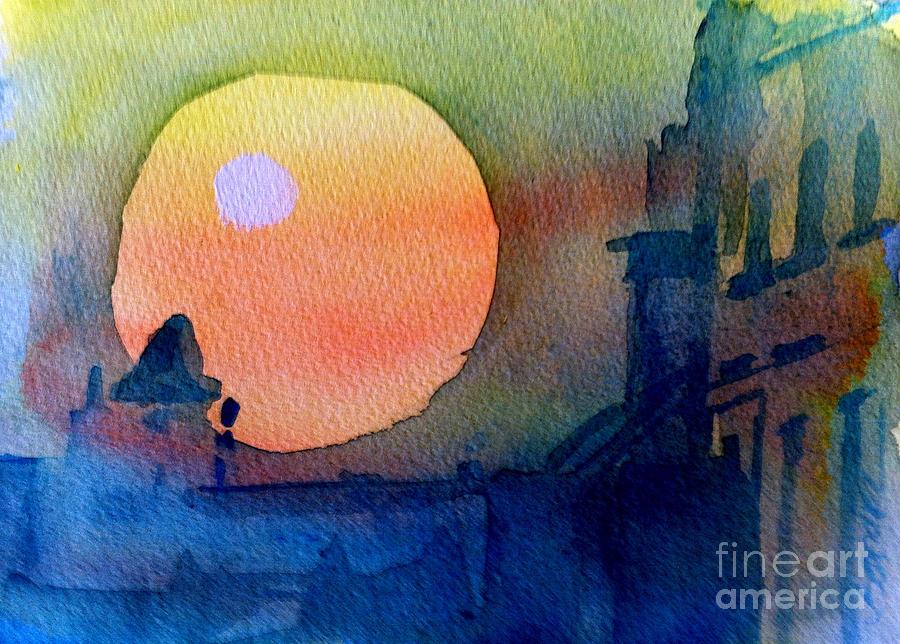 Spiritual Painting - Two Suns by Sandra Stone
