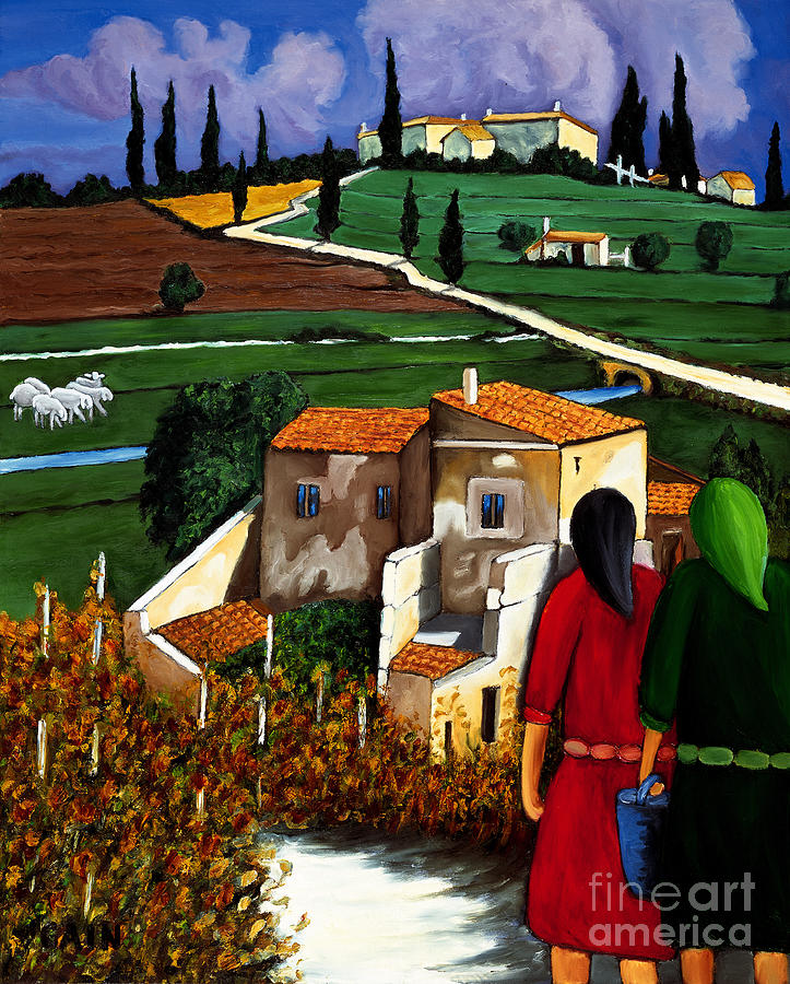 Two Women And Village Sheep Painting
