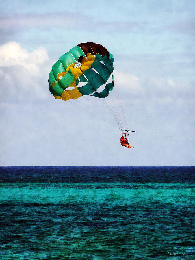 Two Women Parasailing In The Bahamas Photograph  - Two Women Parasailing In The Bahamas Fine Art Print