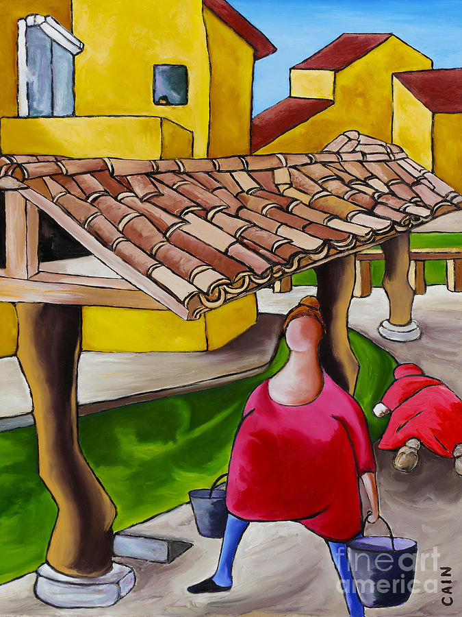 Two Women Under Tile Roof Painting