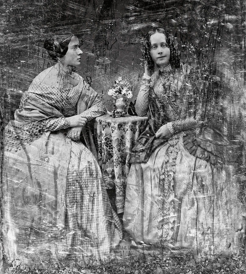 Two Young Antebellum Ladies Almost Lost To Time Photograph  - Two Young Antebellum Ladies Almost Lost To Time Fine Art Print