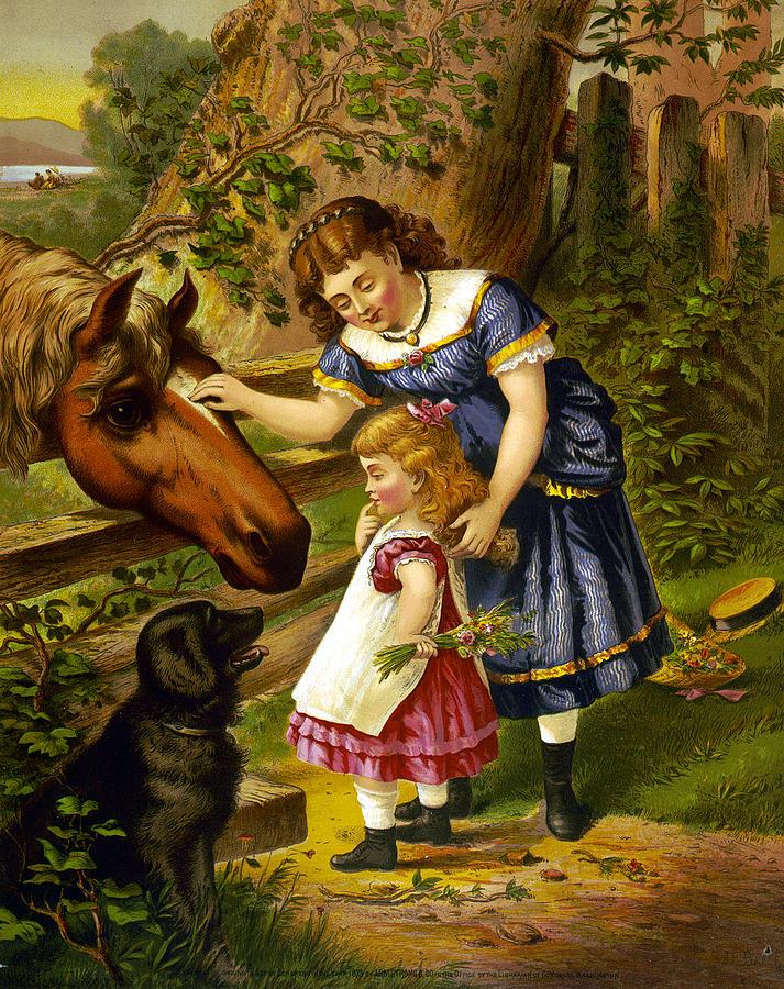 Two Young Girls Digital Art