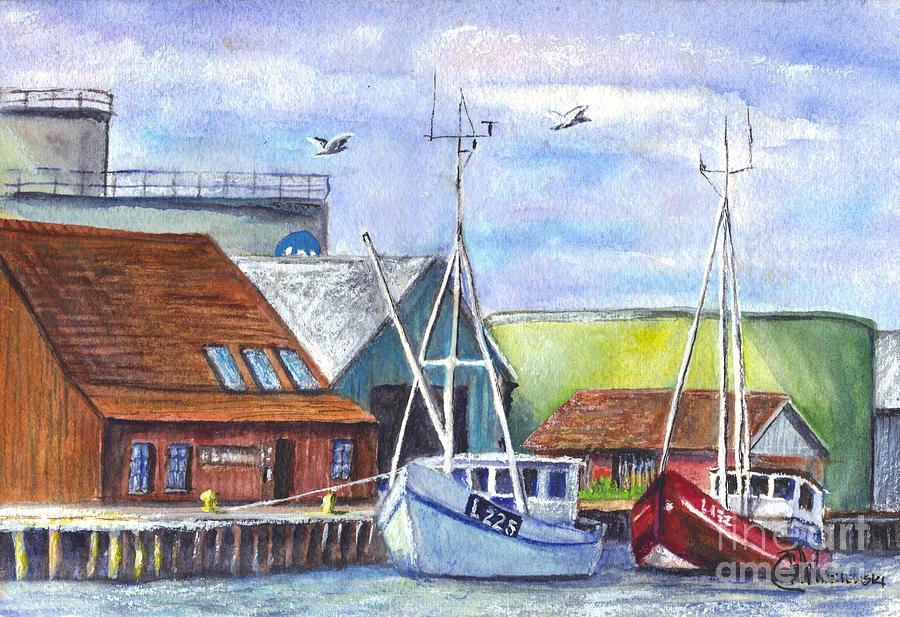 Harbour Painting - Tyboron Harbour In Denmark by Carol Wisniewski