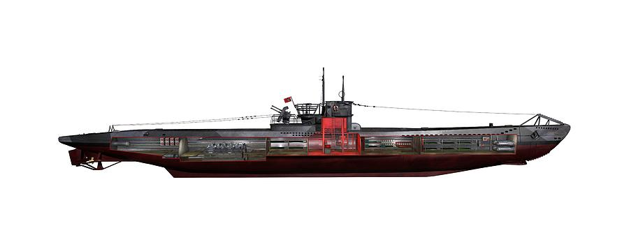 Type Viic/42 Photograph - Type Viic42 U-boat, Artwork by Science Photo Library
