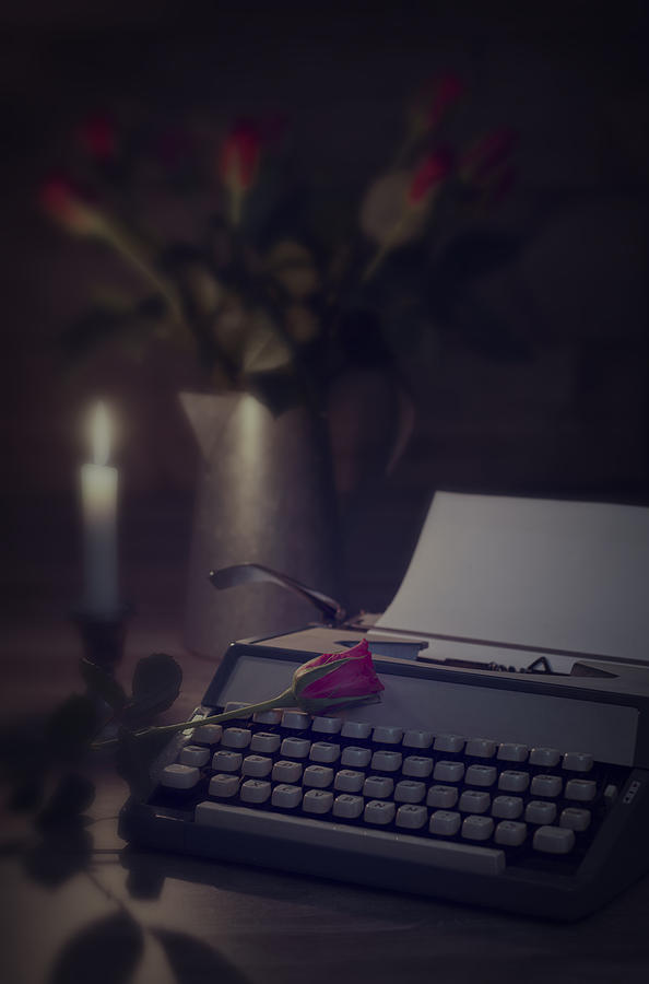 Typewriter By Candlelight Photograph  - Typewriter By Candlelight Fine Art Print