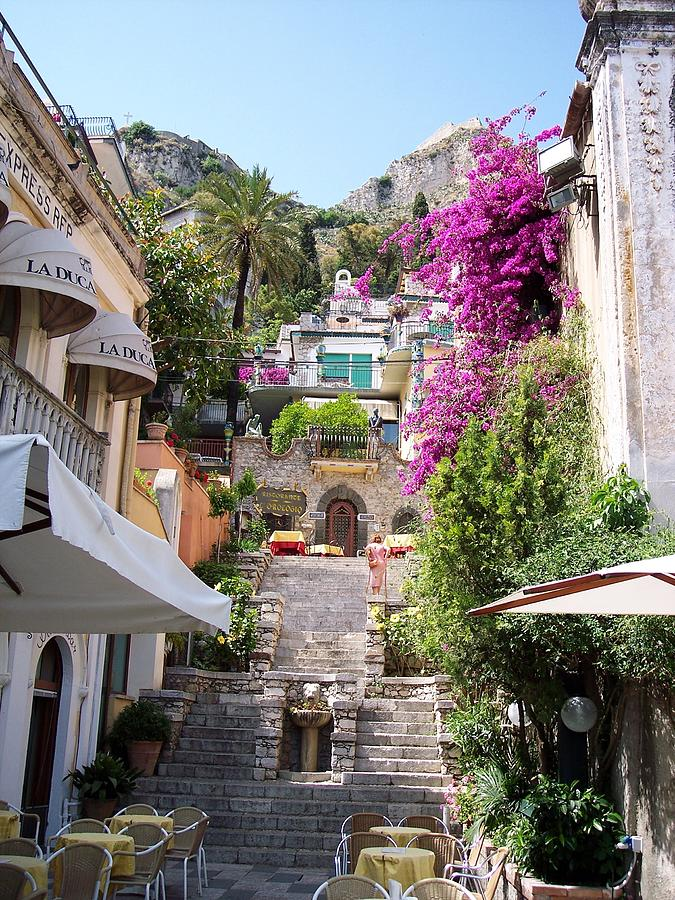 Typical Street Of Taormina Photograph  - Typical Street Of Taormina Fine Art Print