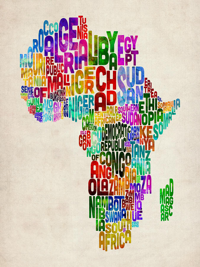 Typography Map Of Africa Digital Art