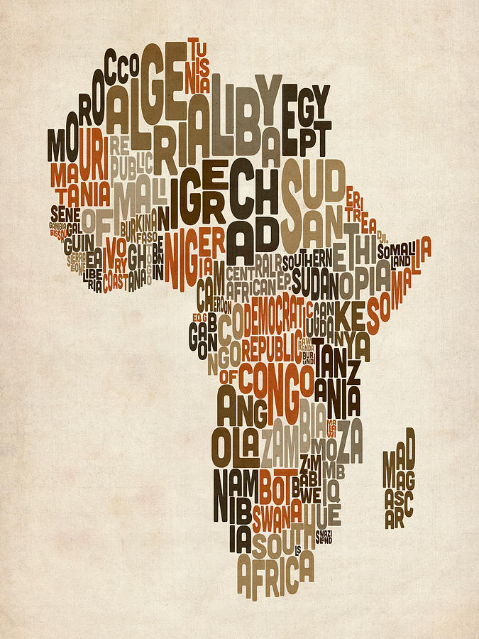 Africa Map Digital Art - Typography Text Map Of Africa by Michael Tompsett