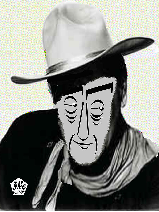 Typortraiture John Wayne Digital Art  - Typortraiture John Wayne Fine Art Print