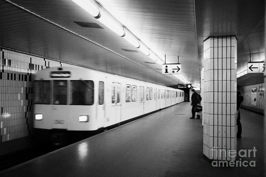 u-bahn train pulling in to ubahn station Berlin Germany Photograph  - u-bahn train pulling in to ubahn station Berlin Germany Fine Art Print
