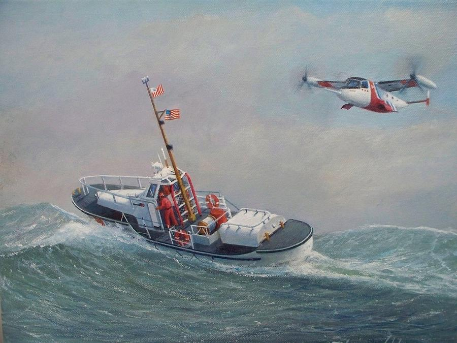 Seascape Painting - U. S. Coast Guard 44ft Motor Lifeboat And Tilt-motor Aircraft  by William H RaVell III