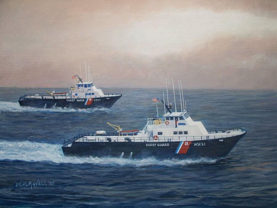 Acrylic Paintings Painting - U. S. Coast Guard Surface Effects Ships Sea Sea Hawk And Shearwater  by William H RaVell III
