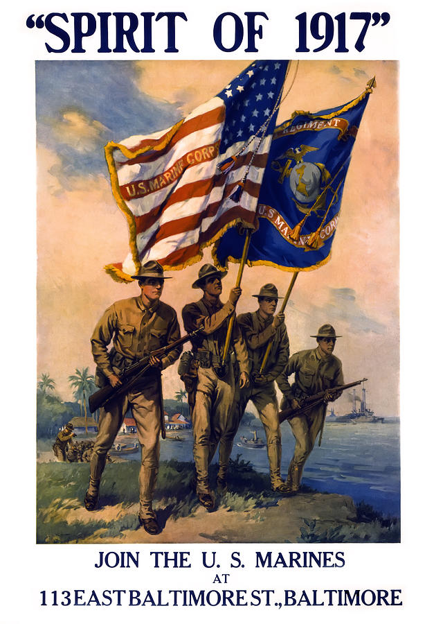 U. S. Marines Spirit Of 1917 Photograph  - U. S. Marines Spirit Of 1917 Fine Art Print