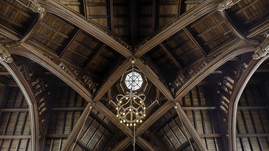 Uf University Auditorium Vaulted Wooden Arches Photograph