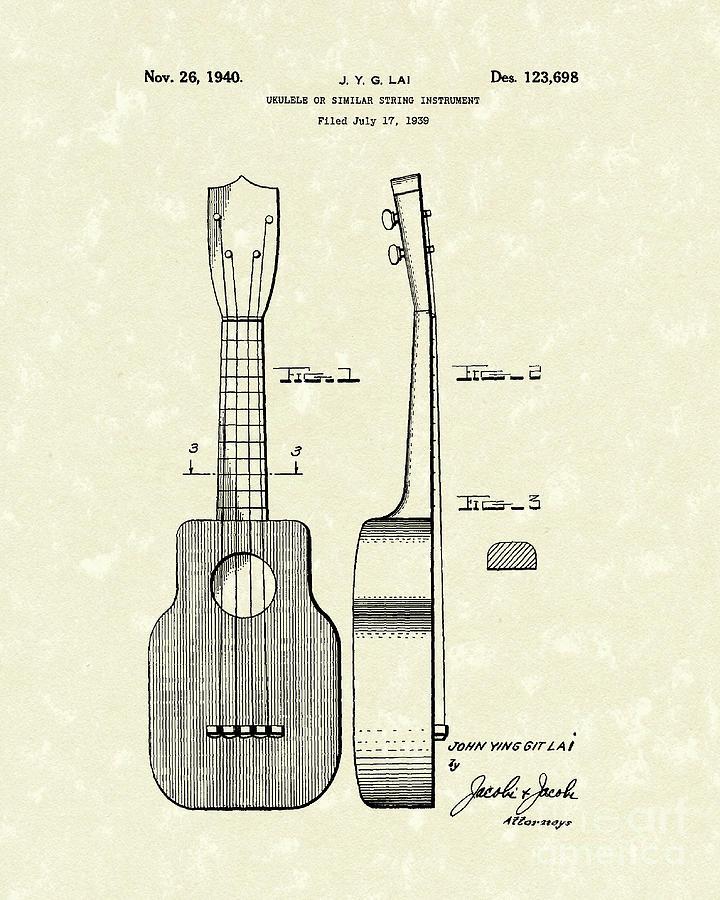 Ukelele 1940 Patent Art Drawing