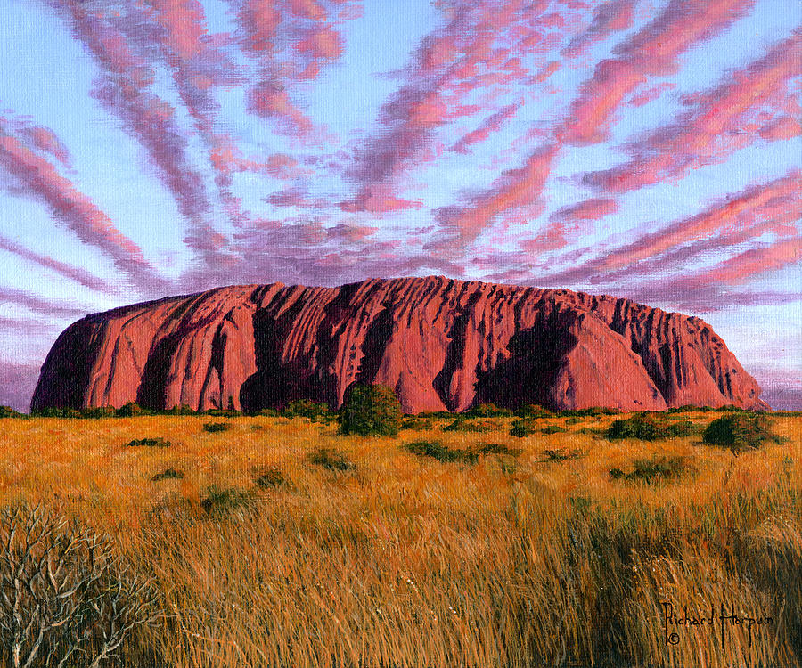 Uluru Painting - Uluru Sunset Ayers Rock Central Australia by Richard ...
