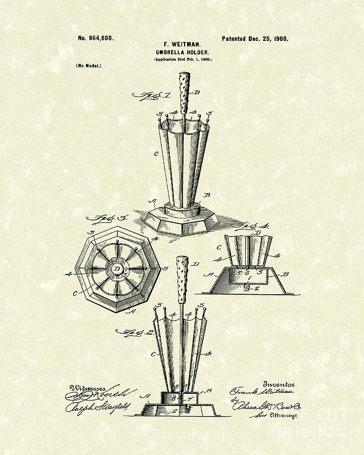 Umbrella Holder 1900 Patent Art Drawing  - Umbrella Holder 1900 Patent Art Fine Art Print