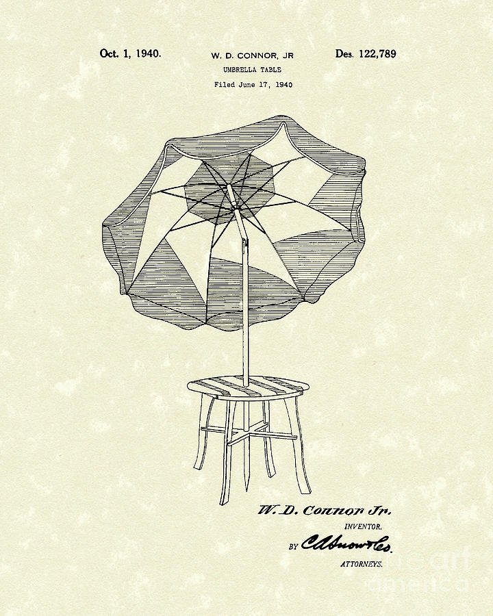 Umbrella Table 1940 Patent Art Drawing