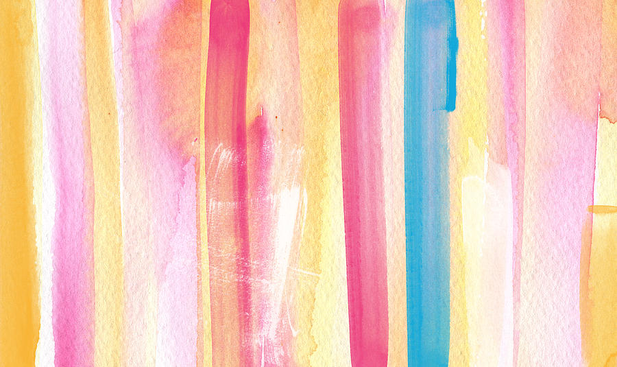Summer Painting - Umrbrella Stripe- Contemporary Abstract Painting by Linda Woods