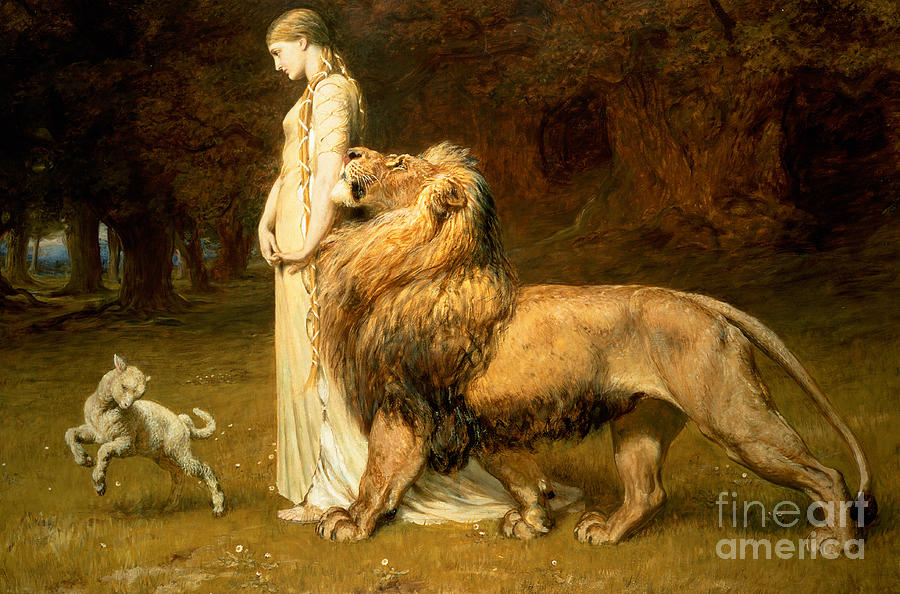 Una And Lion From Spensers Faerie Queene Painting