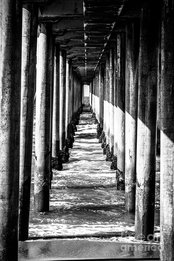 Under Huntington Beach Pier Black And White Picture Photograph  - Under Huntington Beach Pier Black And White Picture Fine Art Print