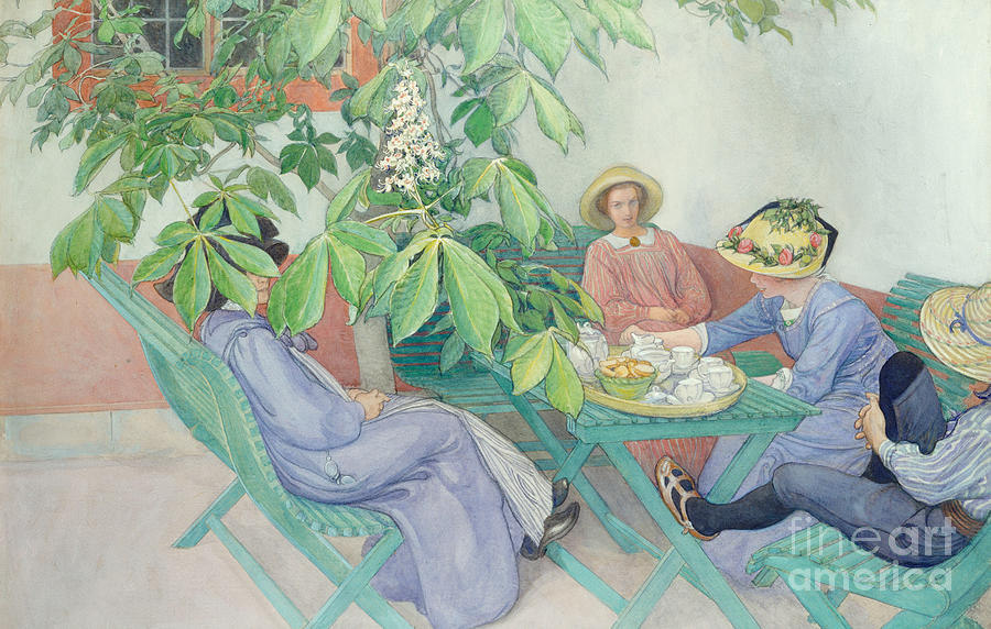 Women; Female; Group; Chatting; Tea; Drinking; Patio; Outdoors; Al Fresco; Biscuits; Straw Painting - Under The Chestnut Tree by Carl Larsson
