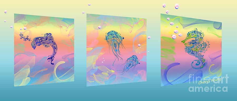 Under The Sea Triptych Photograph  - Under The Sea Triptych Fine Art Print