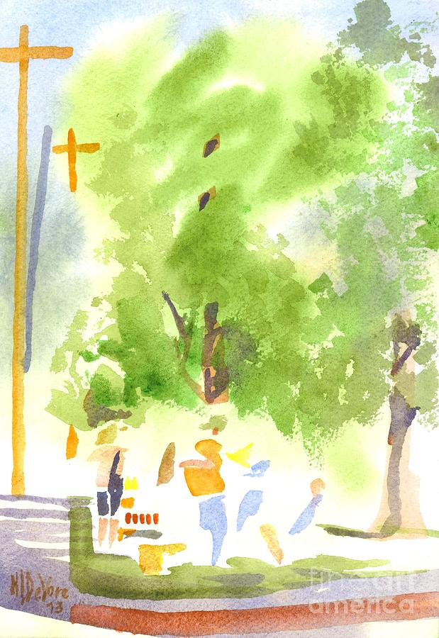 Under The Shade Trees Farmers Market Iv Painting  - Under The Shade Trees Farmers Market Iv Fine Art Print