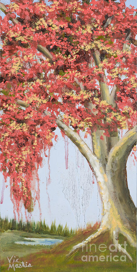 Under The Tree With Gold Leaf By Vic Mastis Painting  - Under The Tree With Gold Leaf By Vic Mastis Fine Art Print