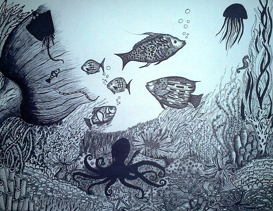 Under Water- Pen And Ink Drawing by Preetha Jayachandran