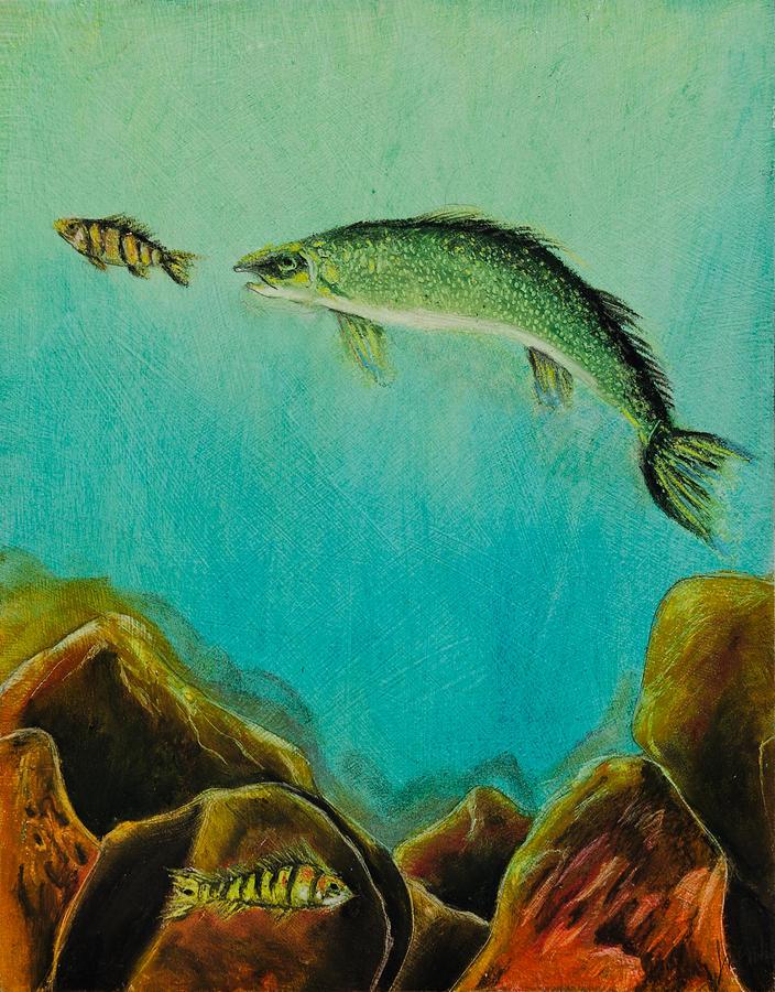 Animal Painting - Underwater Predators Panel 1 by Jeanne Fischer