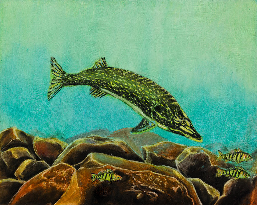 Underwater Predators Panel 2  Painting  - Underwater Predators Panel 2  Fine Art Print