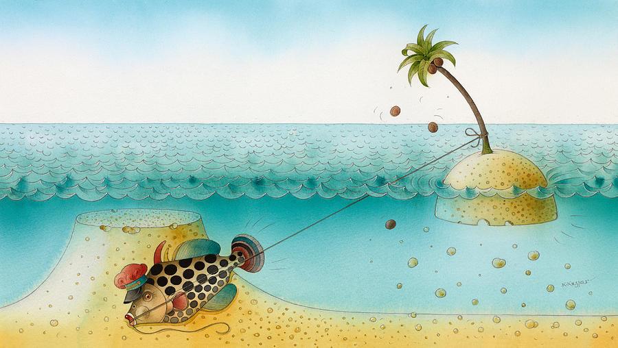 Sea Ocean Blue Azure Coral Fish Island Palm Sky Painting - Underwater Story 03 by Kestutis Kasparavicius