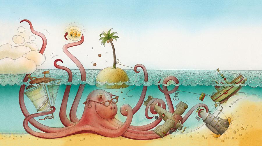 Sea Ocean Underwater Octopus Sky Blue Azure Painting - Underwater Story 06 by Kestutis Kasparavicius
