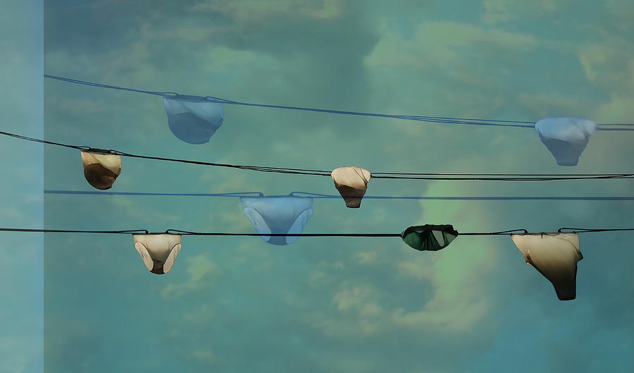 Underwear On A Washing Line  Photograph
