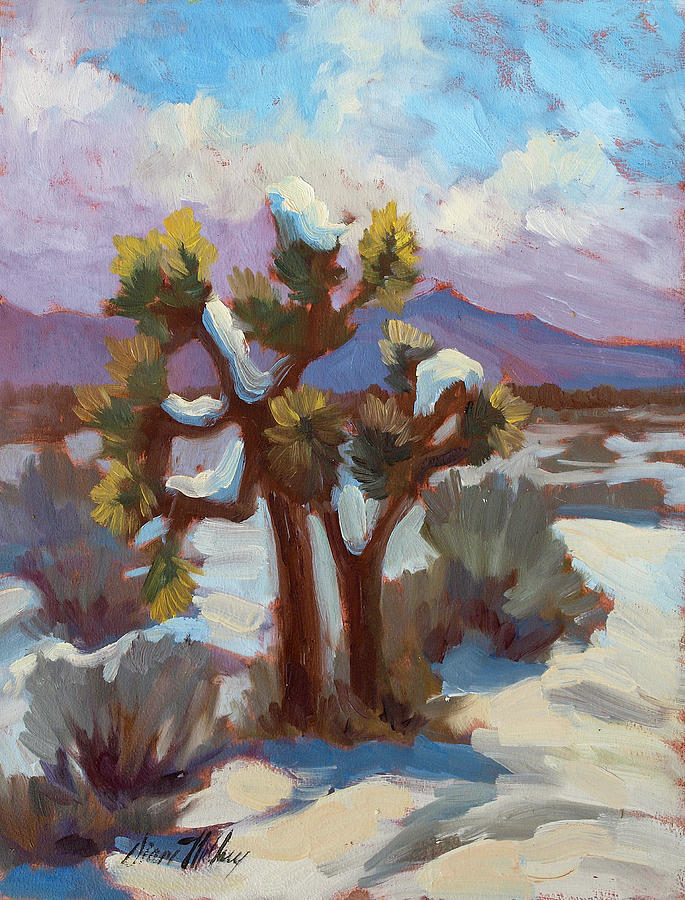 Unexpected Snowfall At Joshua Tree Painting